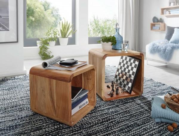 WOHNLING 2er Set Satztisch BOHA Massivholz Design Couchtisch Akazie 2 Tische | Würfelregal-Set Braun