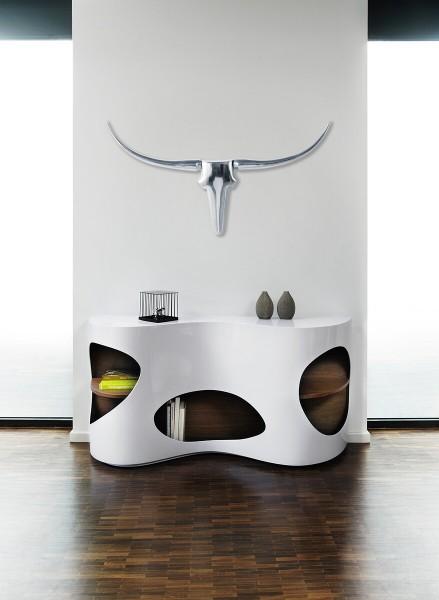 Design Sideboard 150 cm weiß/Walnuss