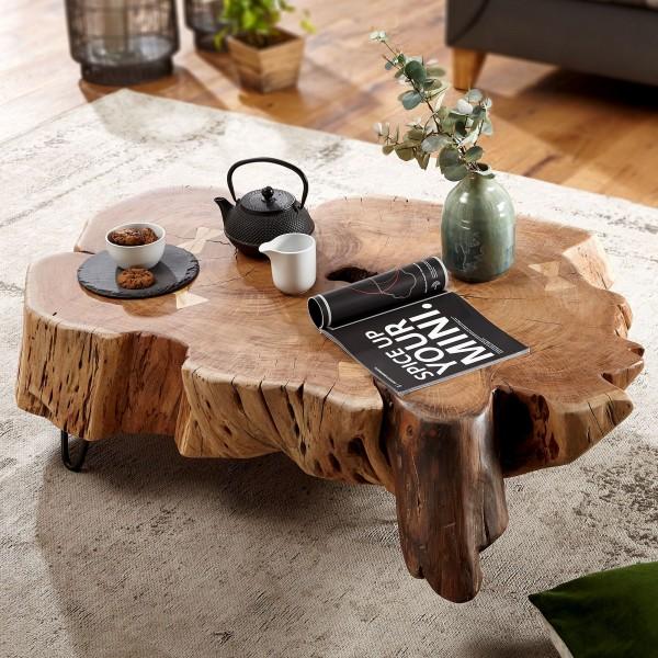 WOHNLING Couchtisch NAKUR 104x30x69 cm Akazie Vollholz Design Wohnzimmertisch | Tisch Stubentisch Ba
