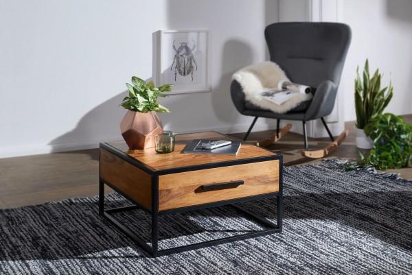 WOHNLING Couchtisch WL5.623 Massivholz / Metall Sofatisch 65x38x65cm | Design Wohnzimmertisch
