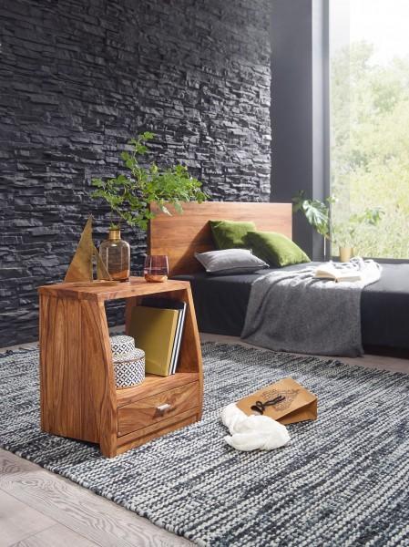 WOHNLING Nachttisch MUMBAI Massiv-Holz Sheesham Nacht-Kommode 53 cm 1 Schublade Ablage