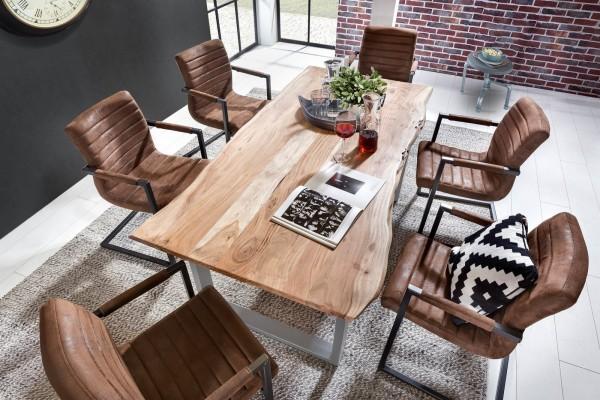 SIT Baumkante-Esstisch 160 x 85 cm | 26 mm Tischplatte natur aus Akazie | Gestell Stahl schwarz