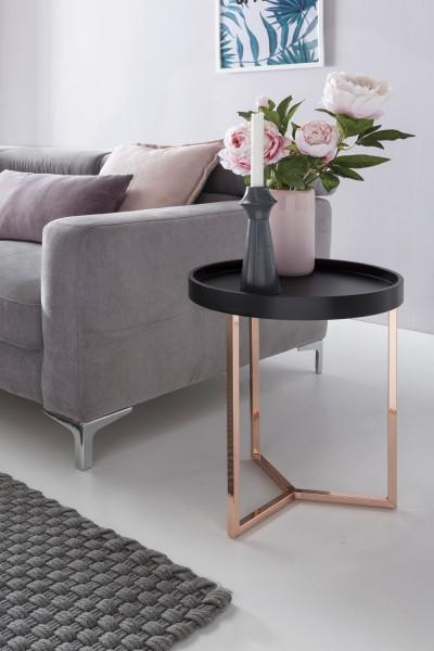 WOHNLING Design Beistelltisch Schwarz / Kupfer ø 40 cm Tabletttisch Holz Metall | Wohnzimmertisch