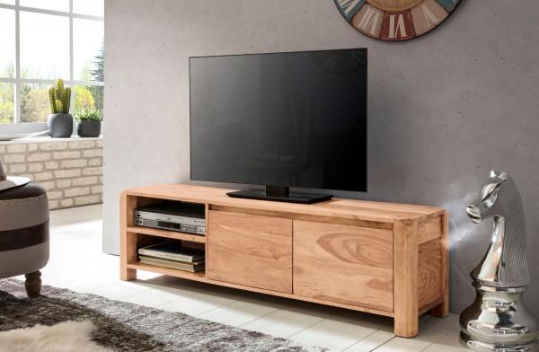 WOHNLING Lowboard BOHA Massivholz Akazie Kommode 140 cm TV-Board Ablage-Fächer Landhaus-Stil