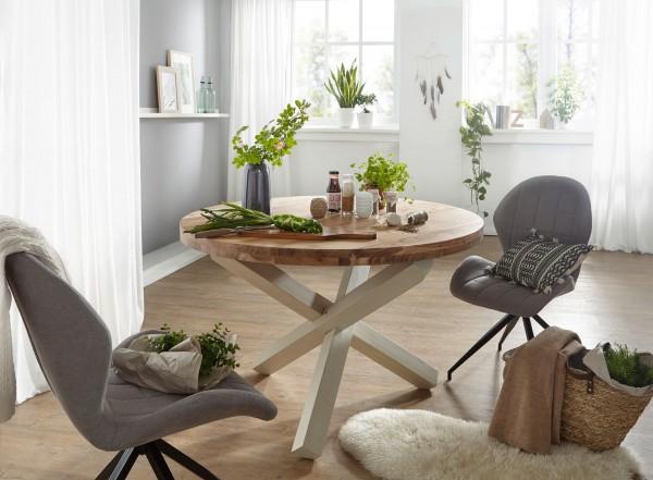 WOHNLING Design Esszimmertisch BOHA rund Ø 120 cm x 75 cm Akazie Massiv-Holz | Landhaus Esstisch 4 P