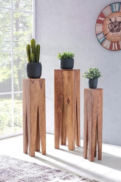 WOHNLING Beistelltisch 3er Set KADA Massivholz Akazie Wohnzimmer-Tisch Design Säulen Landhausstil