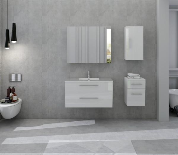 SalesFever Badezimmer Set 90 cm mit Soft Close Funktion   4-tlg. Hochglanz weiß