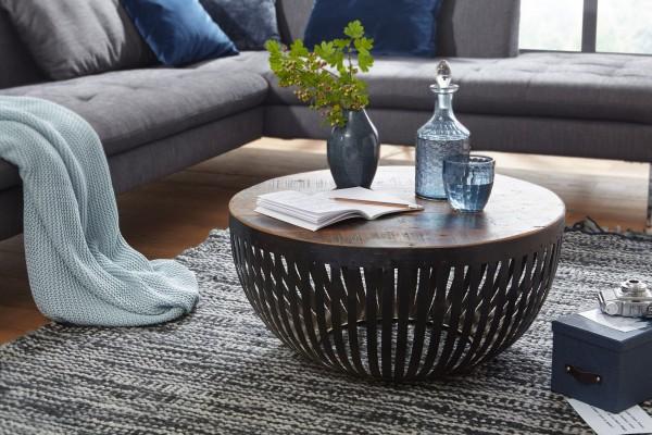 WOHNLING Design Couchtisch rund NISHA 70x33x70 cm Holz / Metall