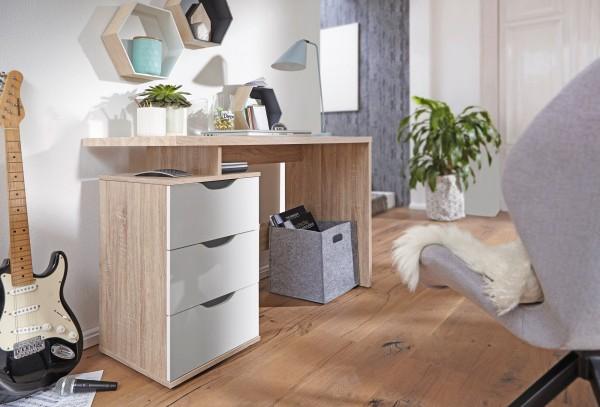 WOHNLING Schreibtisch SAMO 120 x 76 x 53 cm mit 3 Schubladen in Sonoma Weiß | Computertisch modern