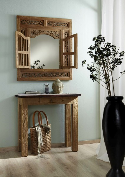 SIT Möbel Konsolentisch 80 cm | 1 Schublade | Teak-Holz natur | Platte kolonialfarbig