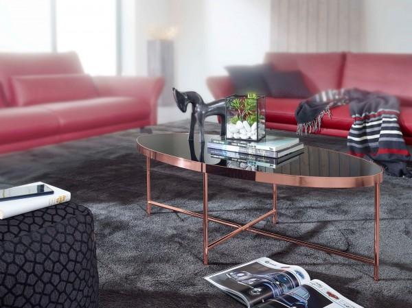 WOHNLING Design Couchtisch Oval 110 x 56 cm Spiegel Glas | Wohnzimmertisch mit Metallgestell i