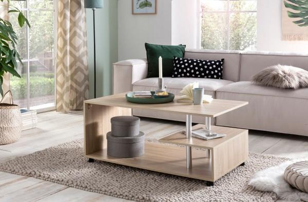 WOHNLING Design Couchtisch WL5.735 105 x 48,5 x 60 cm Sonoma Drehbar mit Rollen | Wohnzimmertisch