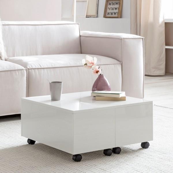 WOHNLING Couchtisch WL5.917 Weiß 60x30x60 cm Holz Wohnzimmertisch Tisch Klein | Kaffeetisch