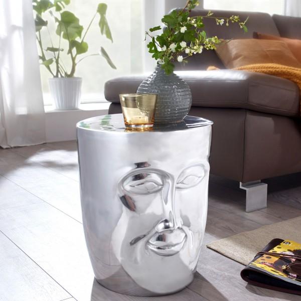 WOHNLING Beistelltisch FACE 35x35x39 cm Aluminium Couchtisch Silber orientalisch | Sofatisch WL5.505