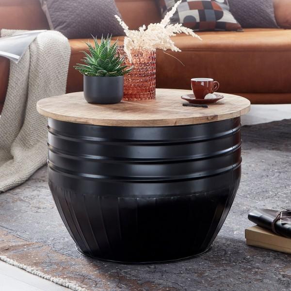 Design Wohnzimmertisch Rund mit Stauraum 60x41x60 cm