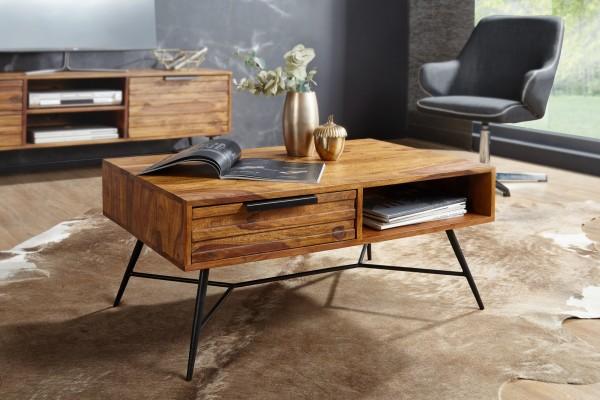 WOHNLING Couchtisch NISHAN 87 x 41 x 55 cm Sheesham Massiv Holz | Design Holztisch mit Stauraum