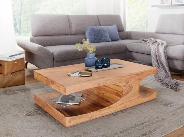 WOHNLING Couchtisch BOHA Massiv-Holz Akazie 118 cm breit Wohnzimmer-Tisch Design dunkel-braun Landha