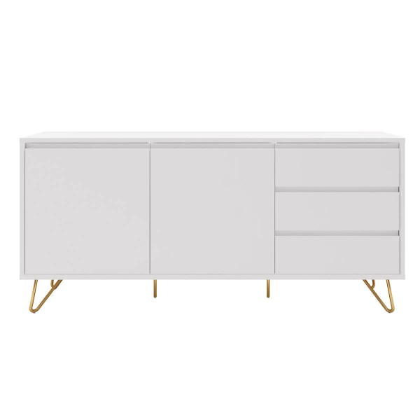 SalesFever Sideboard 150 cm mit 2 Türen und 3 Schubladen Weiß, Gold