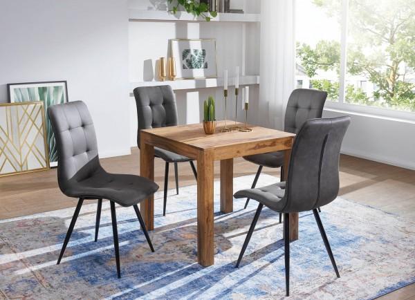 WOHNLING Esstisch MUMBAI Massivholz Sheesham 80 cm Esszimmer-Tisch Holztisch Design Küchentisch