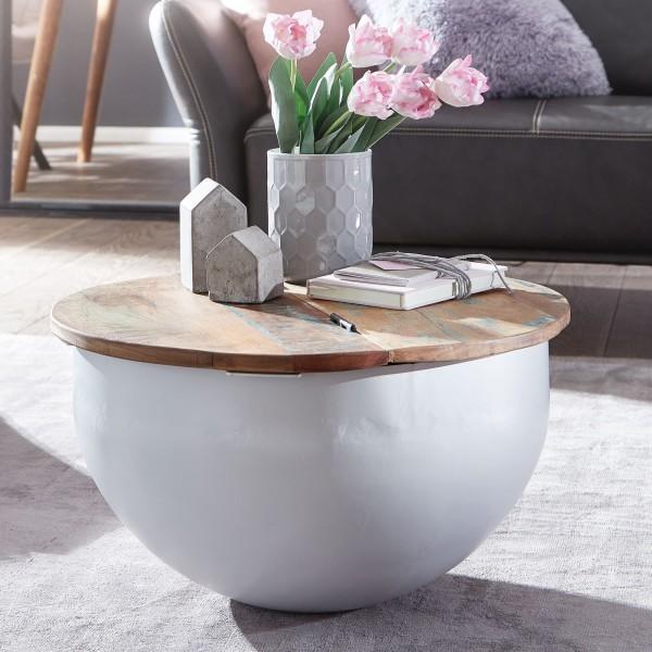 Wohnling Couchtisch Mango Massivholz Metall Tisch Weiß Industrial Rund 60x34x60 cm