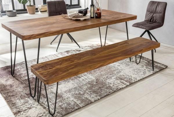 WOHNLING Esszimmer BAGLI Sitzbank Massiv-Holz Sheesham 180 x 45 x 40 cm Holz-Bank Natur-Produkt