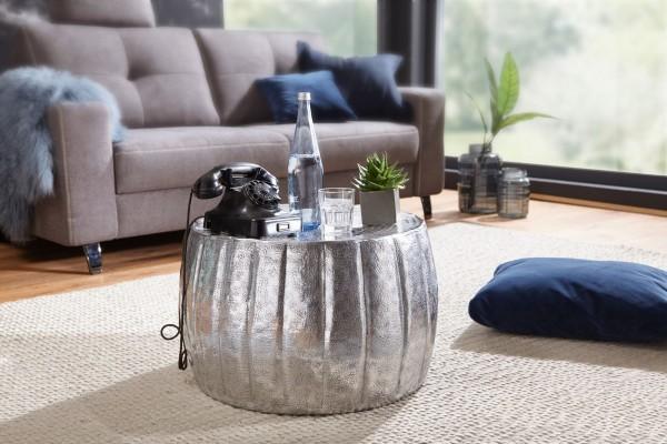 WOHNLING Couchtisch JAMAL 60x36x60 cm Aluminium Silber Beistelltisch orientalisch rund | WL5.502