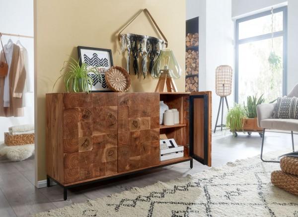 Wohnling Sideboard 132x78x40 cm Akazie Massivholz / Metall Anrichte   Kommode 3 Türen Rustikal