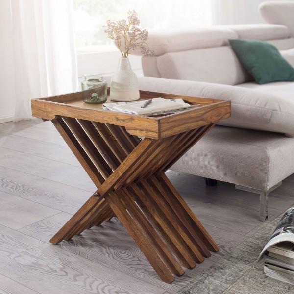 WOHNLING Beistelltisch MUMBAI Massivholz Sheesham Design Klapptisch Serviertablett und Tisch