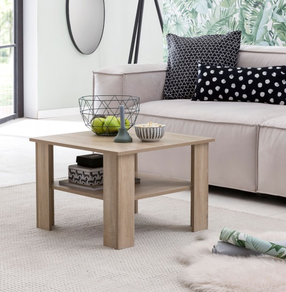 WOHNLING Couchtisch WL5.833 Sonoma Eiche 60x42x60 cm Design Holztisch mit Ablage   Wohnzimmertisch