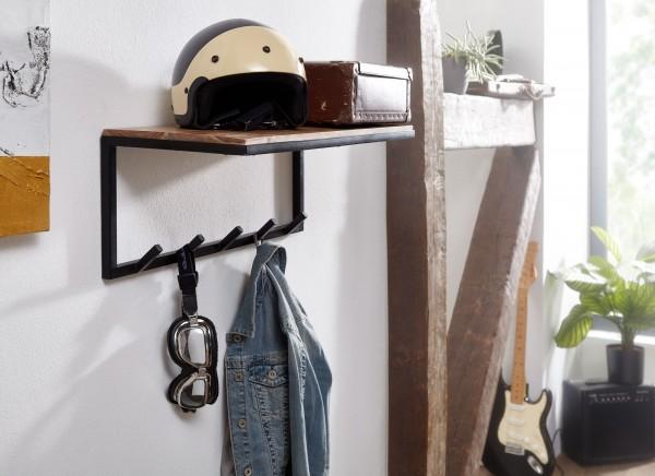 Design Wandgarderobe Akazie Massivholz / Metall Hakenleiste mit Ablage
