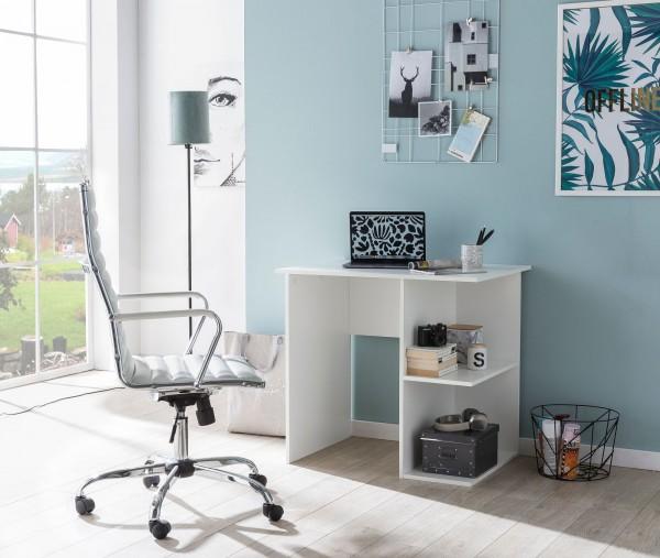 WOHNLING Design Schreibtisch WL5.756 Weiß Matt 119 x 78 x 49 cm mit Ablage Regal | Eckschreibtisch