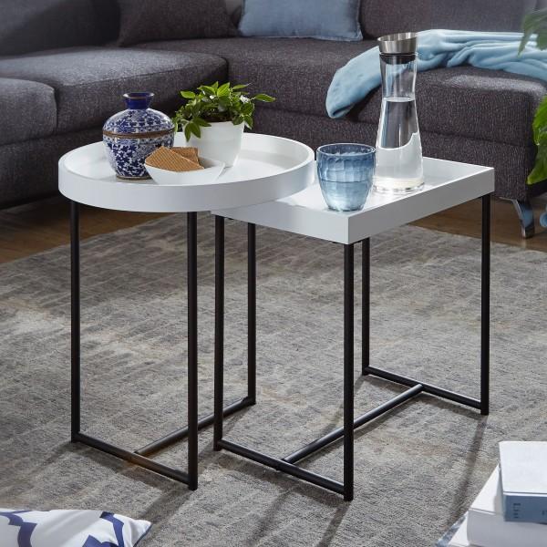 WOHNLING Satztisch 2er Set Weiß WL5.980 Holz/Metall Beistelltische Modern | Design Tabletttisch