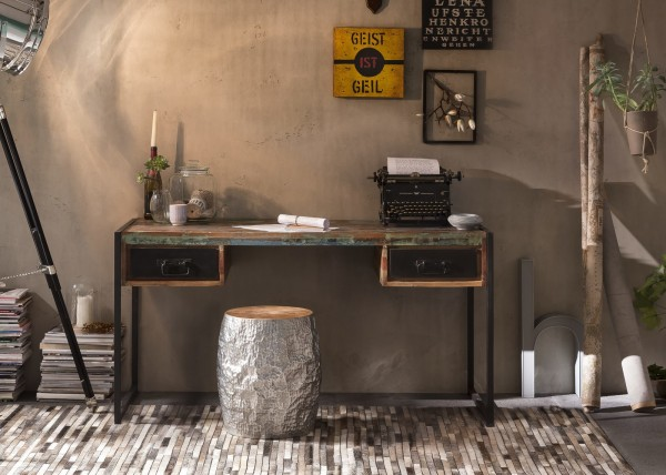 Sit Möbel BALI Schreibtisch Altholz   L 145 x B 70 x H 76 cm   bunt / antikschwarz   03507-98