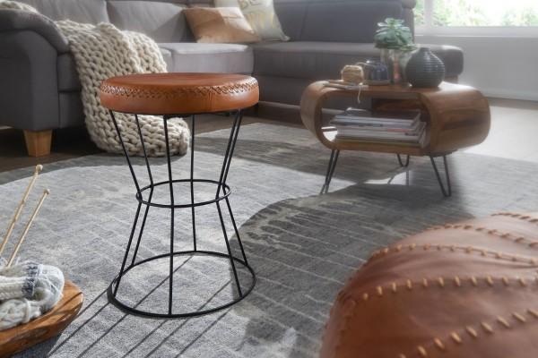 Sitzhocker Echtleder / Metall 35 x 48 x 35 cm Design Hocker Rund