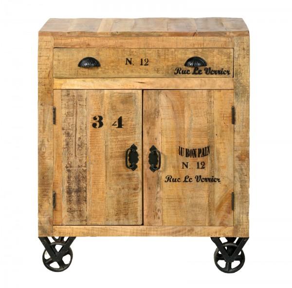 Sit Möbel RUSTIC Kommode Mangoholz lackiert | L 80 x B 40 x H 94 cm | natur / schwarz | 01909-04